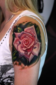 3D pink rose tattoo.