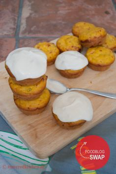 Pumpkin muffins with frosting - in my Red Kitchen