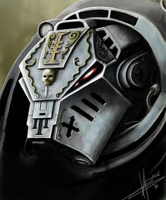 Close-up on the Indomitus-pattern helmet of a Grey Knight Terminator. Warhammer 40k Art, Warhammer Models, Grey Knights, Deathwatch, Knight Art, Space Wolves, Space Marine, Marines, Mass Effect Universe