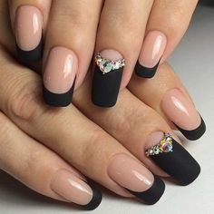 Awesome These Black Polish Nail Art Designs are really fantastic. I know only 5 Black Polish Nail Art Designs but through this i got so many Black Polish Nail Art Designs. Thanks for research on black nail art designs. Matte Nail Art, Matte Black Nails, Acrylic Nails, Black Polish, Gold Nails, Black Manicure, Pink Nails, Coffin Nails, Oval Nails