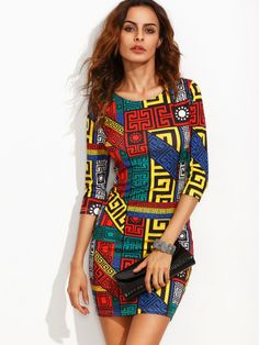 Vestito Tubino Stampa Meandro - Multicolore