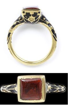 Enamelled gold ring, with a box bezel set with a hessonite garnet. Western Europe, 1600-1650.