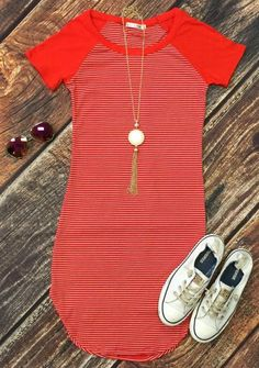 Home Team Tunic Baseball style ribbed dress. Looking for an easy, casual, yet SO cute look! Well here it is in this awesome Striped Dress. #ribbed #baseball #ho