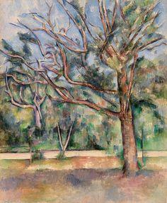 Kunstwerk: 'Bomen en weg, Paul Cézanne  (1890)' van van Atelier Liesjes