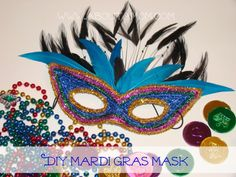 DIY Mardi Gras Mask Craft, I'd love to make our guest masks! It'd be so much fun for me and my daughter plus it'd be good mother daughter bonding time!!