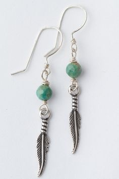 Petite Cherokee Feather Earrings - Faceted Turquoise