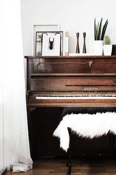 My piano | SMÄM. Like the sheepskin on the piano bench.