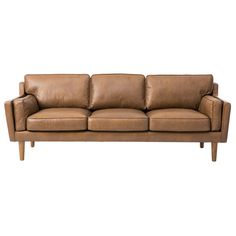 This soft sofa is composed of luxurious Oxford leather upholstery in a tan color with polyurethane foam, duck feathers and polyester fiber couched within. The sturdy wood legs are are finished in a lovely and bold oak finish.  The reviews say it is not very sturdy