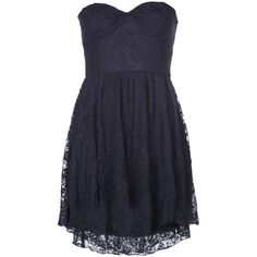 MOTEL ROCKS strapless lace dress (€110) ❤ liked on Polyvore featuring dresses, vestidos, robes, short dresses, navy lace dress, short lace dress, short mini dress, navy short dress and lace dress