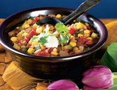 Soy Chili with Zucchini: 30 Minutes or lessThis unusual chili uses both black soybeans and finely chopped tempeh, giving it a hearty taste and texture. Serve the chili on its own or over brown rice.