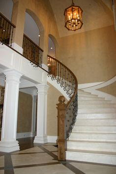 Like the railing. Inspiring European House Design with Romantic Atmosphere: Beautiful European Romantic House Entry Design Curved Staircase ~ SQUAR ESTATE Architecture Inspiration European Style Homes, European House, Curved Staircase, My Dream Home, Dream Homes, Front Entry, Room Interior, Great Rooms, French Country