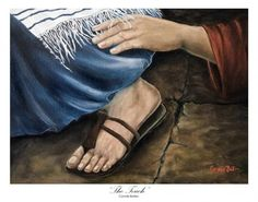 """The Touch"" Oil on Canvas. The woman reaching out to touch the hem of his garment.i by connie baten Many touched his garment, but only those who believed were healed. Bible Pictures, Jesus Pictures, Lds Art, Bible Art, Catholic Art, Religious Art, Spiritual Paintings, Christian Pictures, Bride Of Christ"
