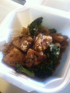 Mini bowl with teriyaki chicken brown rice and broccoli