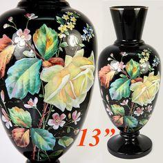 Antique Bohemian Opaline Vase, 13 Tall, Enamel on Black Glass, Harrach or Moser Black Glass Desk, Hippy Fashion, Gypsy Home Decor, Black Amethyst, Vases For Sale, Bohemian Art, Opaline, Antique Glass, Glass Collection