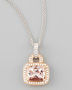 18k Rose Gold Pave Diamond Morganite Necklace by Frederic Sage at Neiman Marcus.
