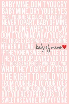 Song Lyric Poster - Baby Mine - 20x30 - Pink, White, Gray, Red, Purple, Lavender, Yellow on Etsy, $30.00