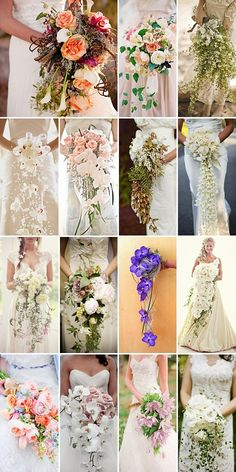 Cascading wedding bouquets, an array of beautiful ideas for you! These cascading wedding bouquets are so pretty! Cascading bouquets - a vintage wedding flower trend is emerging again! I love and row 3 column 1 Second row, second on the right. Cascading Wedding Bouquets, Cascade Bouquet, Bride Bouquets, Bridal Flowers, Floral Wedding, Bridal Bouquet Diy, Wedding Blog, Dream Wedding, Wedding Day
