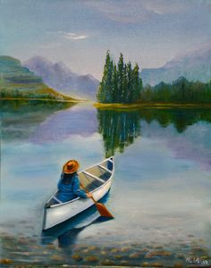 Lake canvas painting Calm landscape Cowboy Girl Rowing a Boat Clear water painting Beautiful mountain landscape Lake scene