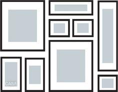 """Arranjos de quadros sem sair do quadrado: A arquiteta Roberta Martins sugere: dispôr, entre os quadros, outras formas de arte, como uma escultura. """"Também é possível deixar um espaço em branco dentro do retângulo ou do quadrado"""""""