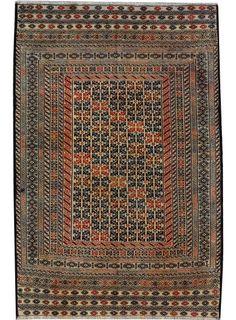 "Beige/Brown Persian Soumak Kilim 4' 5"" x 6' 4"" (ft) - No. 17496"