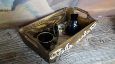 This serving tray is made from wood, it's decorated with acrilic paints, made in decoupage technique and protected with varnish. This tray would look great in any kitchen o...
