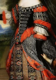 .:. Maria Theresa with Her son, the Dauphin, Louis of France (detail), Pierre Mignard, 1661.
