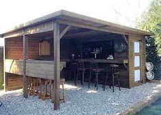 Outdoor Garden Bar, Diy Outdoor Bar, Outdoor Kitchen Bars, Outdoor Bar And Grill, Bbq Kitchen, Beer Garden, Outdoor Ideas, Backyard Pavilion, Backyard Bar