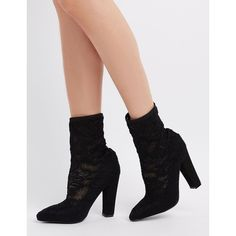 a5b2cd5b839 Charlotte Russe Lace Sock Ankle Booties ( 41) ❤ liked on Polyvore featuring  shoes