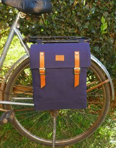 Bicycle pannier/Navy blue canvas and leather by BiciByBar on Etsy