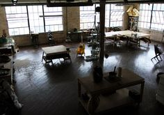Look at this work space...LOVE...Mercy Leather Workshop...found on etsy