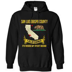 San Luis Obispo County - Its where my story begins!  #LUIS. Get now ==> https://www.sunfrog.com/San-Luis-Obispo-County--Its-where-my-story-begins-5598-Black-Hoodie.html?74430