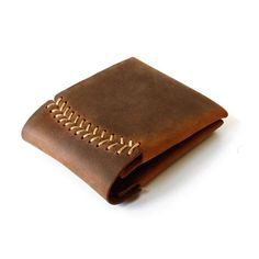 hand leather wallet | Bifold leather wallet baseball stitch