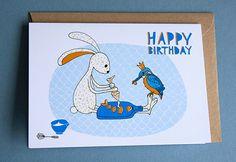 Een persoonlijke favoriet uit mijn Etsy shop https://www.etsy.com/nl/listing/288486717/greeting-card-happy-birthday-kingfisher