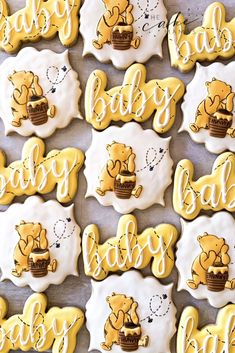 Winnie the Pooh decorated sugar cookies. Call or email to order your celebration cookies today. Click the link below for more information. the pooh babyshower Fiesta Baby Shower, Boy Baby Shower Themes, Baby Shower Fun, Baby Shower Favors, Baby Shower Parties, Baby Showers, Baby Shower Desserts, Baby Shower Cookies, Pinterest Board