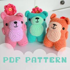 **INSTANT DOWNLOAD - This listing is for the pattern, not the actual toy** Meet the Flower Friends! A little band of bears with lots of love to give. With their cheeky smiles and hands clasped behind their backs - they have a gift for you <3 Written in easy to follow American Terms, this