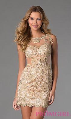 Short Sleeveless Lace Dress by Dave and Johnny at PromGirl.com