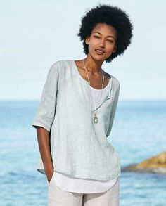Poetry - Linen and jersey top - This is a fresh and contemporary piece that pairs our crinkle linen with its cool texture and soft colour over a linen jersey vest thats slightly longer at the hemline. With a scoop neckline that can be left open to show the contrasting colour beneath, the sleeves finish at the elbow. 82% linen 18% cotton, Lining 100% linen jersey