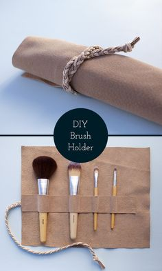 No-sew leather makeup brush roll   Great as a stationery holder too and to keep your dorm organized!   Maker Crate