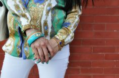 Turq and gold bangles sets
