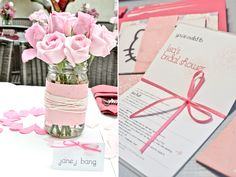 Light pink roses in mason jars for bridal shower centerpieces, and Hello Kitty-themed bridal shower | OneWed.com