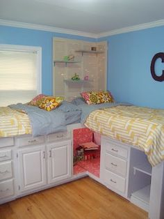What a great idea for a kids room. Lots of storage. Storage beds made from old kitchen cabinets with a secret hangout spot. Want this for my girls when they get older! Better than bunk beds! Girl Room, Kid Beds, Bed Storage, Home, Under Bed Storage, Old Kitchen Cabinets, How To Make Bed, Small Bedroom, Home Decor