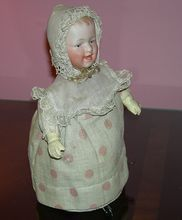 "Gebruder Heubach - Mechanical Walking Doll - 9 1/2"" - Squeaks!! - Marked Head!! - Antique German Doll!!"
