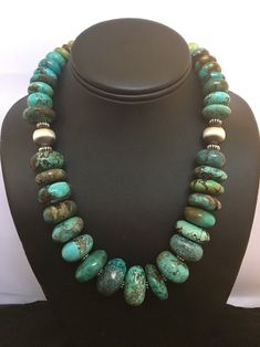 Native American Sterling Silver Graduated Natural Turquoise Bead Necklace. #SterlingSilverNativeAmerican