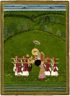 The aged Mughal emperor Aurangzeb, reading a book, being carried on a palanquin