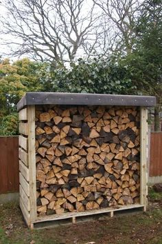 Felt roofed pallet log shed.