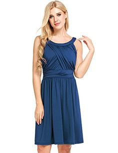 Beyove Women's Sleeveless Casual A Line Dress Ruched Waist Cocktail Swing Party Dress