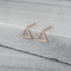 Gold Earrings Triangle Earrings 14 karat gold by TalesInGold