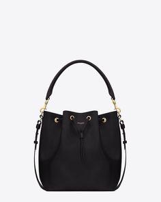 3a8edbea080b Large EMMANUELLE BUCKET BAG IN Black LEATHER