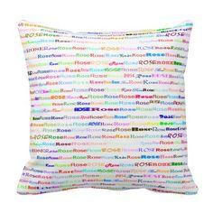 Rose Text Design II Throw Pillow