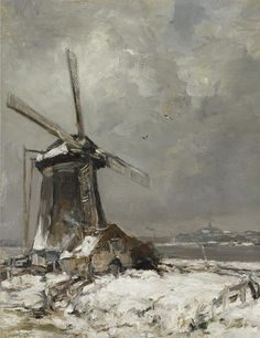 A Windmill in a Snow Covered Landscape, Louis Apol